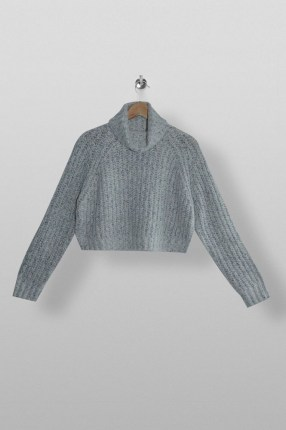 Topshop Grey Neppy Cropped Roll Neck Knitted Jumper | crop hem jumpers - flipped