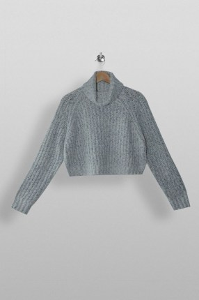Topshop Grey Neppy Cropped Roll Neck Knitted Jumper | crop hem jumpers