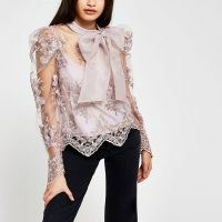 RIVER ISLAND Grey puff sleeve organza lace blouse ~ romantic look fashion ~ semi sheer blouses ~ statement bow tops