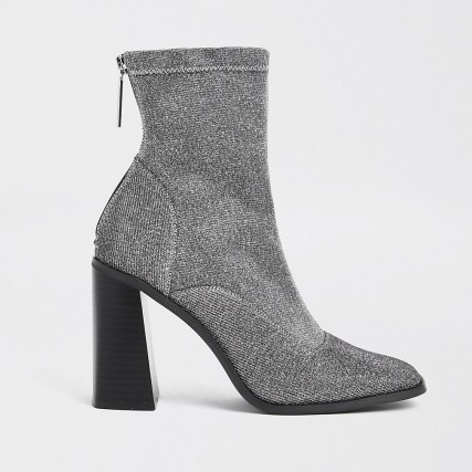 River Island Grey sock block heel ankle boot ~ high flare heeled boots - flipped