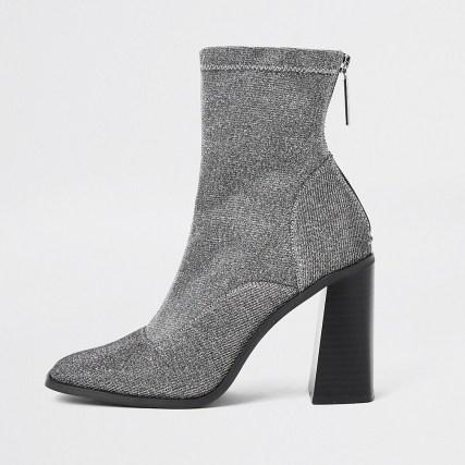 River Island Grey sock block heel ankle boot ~ high flare heeled boots