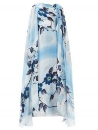 RODARTE Hand-painted floral silk gown – luxury blue printed gowns – bold florals