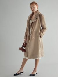 REFORMATION Hank Coat in Camel ~ light brown winter coats ~ luxe outerwear