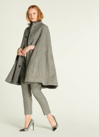 LK BENNETT HARRIS BLACK & WHITE PRINCE OF WALES CHECK CAPE / checked capes - flipped