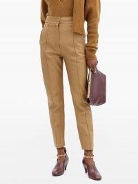 PETAR PETROV Herena panelled leather trousers / high waist slim leg pants