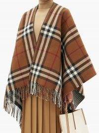 BURBERRY Heritage-check wool shawl ~ brown fringed shawls