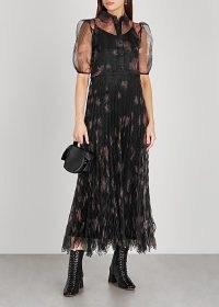 HIGH Captivate floral-print organza midi dress / black sheer sleeve dresses / feminine look clothing
