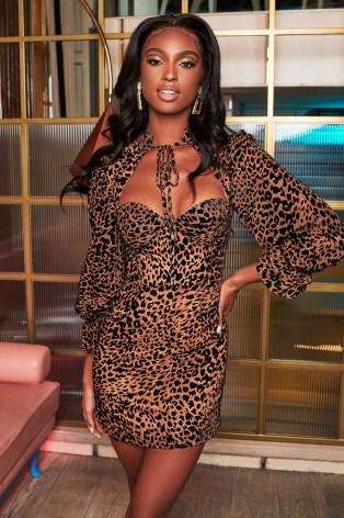 lavish alice high neck micro ruffle mini dress in leopard velvet devore – glamorous occasion dresses – party glamour