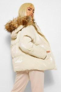 boohoo High Shine Faux Fur Trim Puffer ~ shiny cream jackets