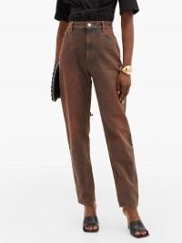 THE ATTICO High-rise curved-leg jeans ~ brown denim