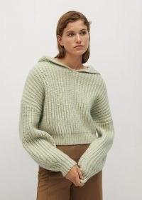 MANGO Hooded knit sweater Pastel Green ~ drop shoulder jumpers