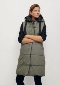 MANGO BETA Hooded quilted gilet khaki ~ longline gilets