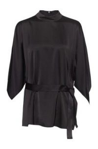 HUGO BOSS Cilaia Belted top with kimono-style sleeves and stand collar / black contemporary high neck tops