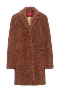 HUGO BOSS Mellia Button-through coat in teddy fabric / brown faux fur textured coats / neutral winter outerwear