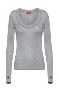 HUGO BOSS Sunessa Glittery-effect sweater with thumbholes / scoop neck sweaters
