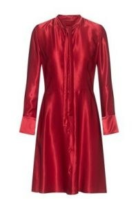 HUGO BOSS Kemera Long-sleeved tie-neck dress in lustrous fabric in red / occasion dresses