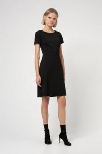 HUGO BOSS Kasella Short-sleeved shift dress in worsted stretch virgin wool / versatile lbd / smart workwear dresses