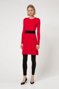 HUGO BOSS Seagery Slim-fit knitted dress with contrast waistband / red knit dresses