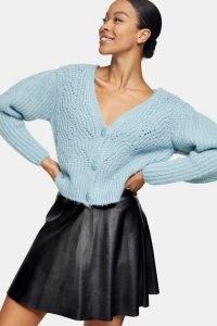 IDOL Black PU Flippy Mini Skirt | faux leather skirts