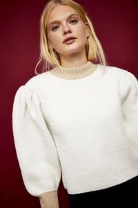 Topshop IDOL Boucle Contrast Turn Up Knitted Jumper | volume sleeve jumpers