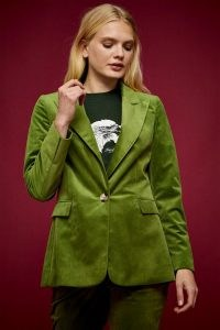 IDOL Green Velvet Blazer With Peak Lapels ~ jewel tone blazers ~ autumn and winter tones ~ jackets