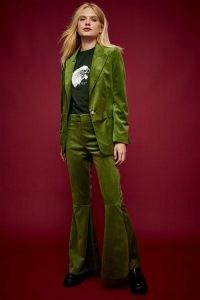 IDOL Green Velvet Flared Wide Leg Trousers ~ jewel tone super flares