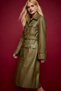 IDOL Khaki Leather Crocodile Print Trench ~ topshop coats ~ green outerwear