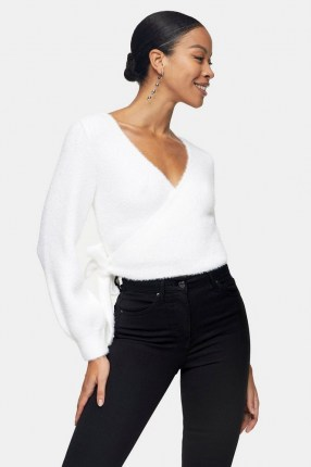 Topshop Ivory Fluffy Ballet Wrap Knitted Blouse - flipped