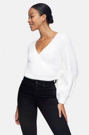 Topshop Ivory Fluffy Ballet Wrap Knitted Blouse