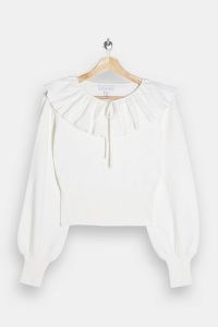 Topshop Ivory Frill Neck Knitted Jumper