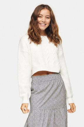 Topshop Ivory Spliced Cable Knitted Jumper | cropped jumpers - flipped