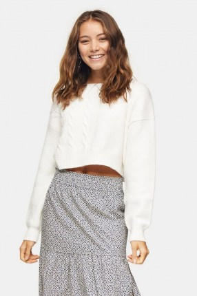 Topshop Ivory Spliced Cable Knitted Jumper | cropped jumpers