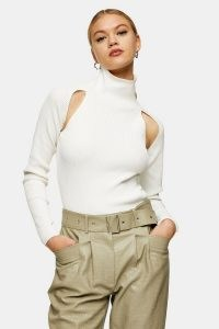 Topshop Ivory Spliced Roll Neck Knitted Top | chic high neck cut out tops