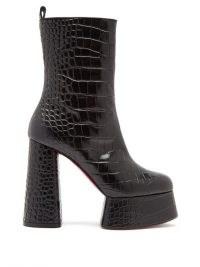 CHRISTIAN LOUBOUTIN Izamayeah crocodile-effect leather platform boots / chunky 70s inspired platforms / retro footwear