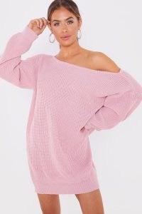 JAC JOSSA BLUSH BARDOT JUMPER DRESS ~ knitwear ~ off the shoulder dresses
