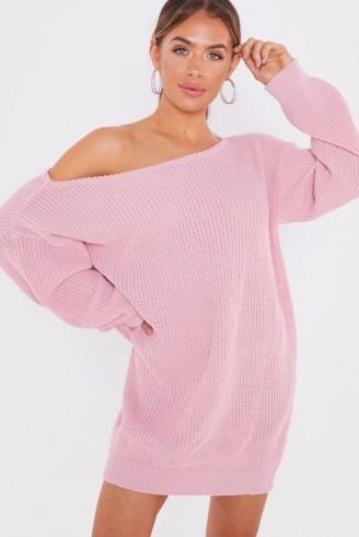 JAC JOSSA BLUSH BARDOT JUMPER DRESS ~ knitwear ~ off the shoulder dresses - flipped