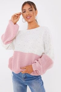 JAC JOSSA PINK AND SPECKLE COLOUR BLOCK JUMPER ~ slouchy crew neck jumpers