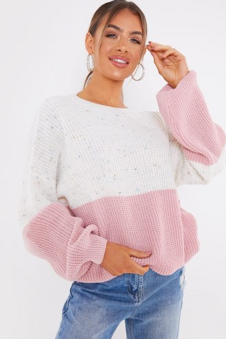 JAC JOSSA PINK AND SPECKLE COLOUR BLOCK JUMPER ~ slouchy crew neck jumpers - flipped