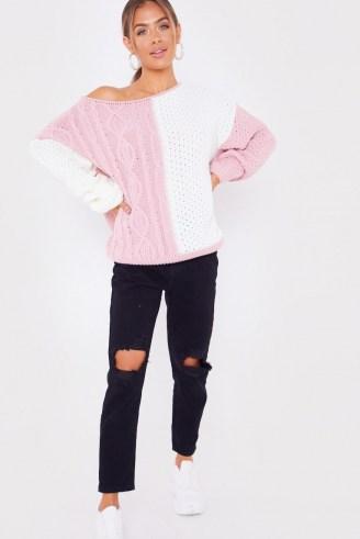 JAC JOSSA PINK OFF SHOULDER KNITTED JUMPER ~ colour block jumpers