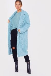 JAC JOSSA SAGE FAUX FUR LONGLINE COCOON COAT ~ textured winter coats