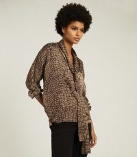 REISS JESSIE CROC PRINT BLOUSE BROWN