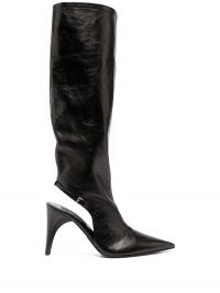 Jil Sander cut-out black leather boots / cutaway point toe boot