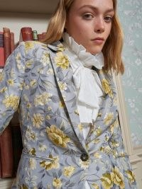sister jane Domestic Jacquard Fitted Blazer / printed blue and yellow floral blazers / feminine single breasted jackets