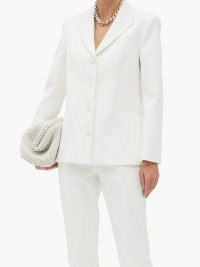 KHAITE Joan single-breasted faille jacket ~ ivory-white jackets