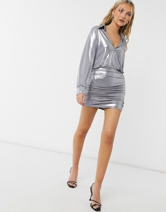 John Zack metallic collar detail ruched mini dress in silver / shimmering going out dresses - flipped