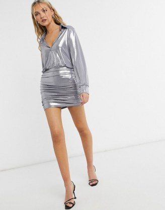 John Zack metallic collar detail ruched mini dress in silver / shimmering going out dresses
