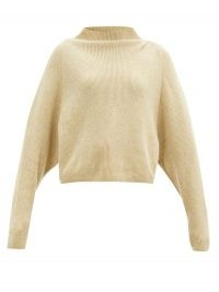 PETAR PETROV Karoll high-neck ribbed-cashmere sweater / beige rib knit high neck jumper / slouchy sweaters / designer knitwear
