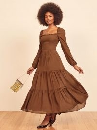 REFORMATION Kellie Dress in Cinnamon ~ brown tiered maxi