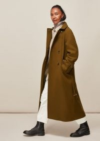 WHISTLES BELTED TRENCH COAT / khaki military inspired winter coats / stylish longline outerwear