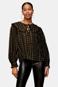 TOPSHOP Khaki Check Collar Blouse – oversized collars – checked blouses